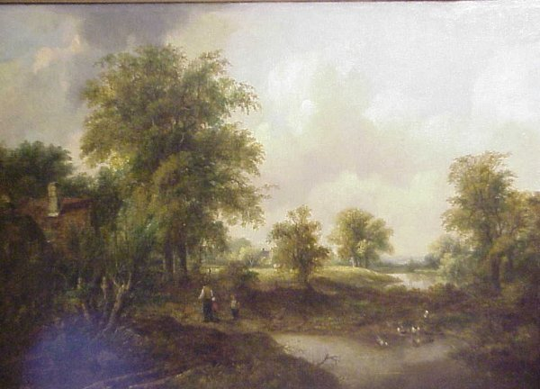124: 19th C English Landscape with figures and ducks,