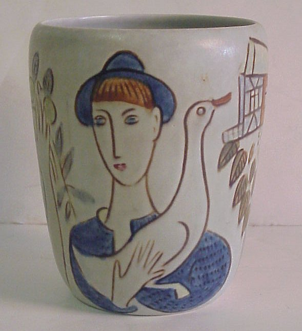 "9: Rorstrand Sweden pottery vase, hand painted, 5""h"