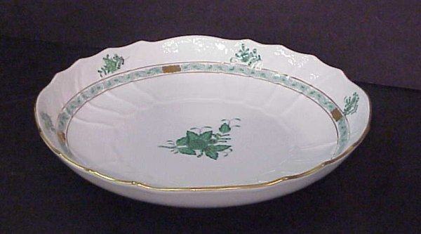 3: Herend bowl, green floral, 10 3/4""