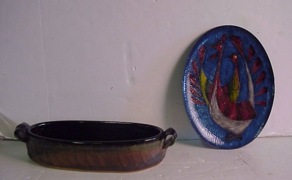 "5A: Miguel Pineda enameled copper oval dish 11"" and  Ad"