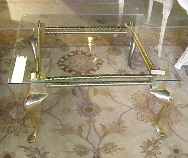 10: Queen Anne style brass glass top coffee table,  col