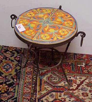 5: DECORATIVE ROUND TILE TOP IRON BASE TABLE,1920'S