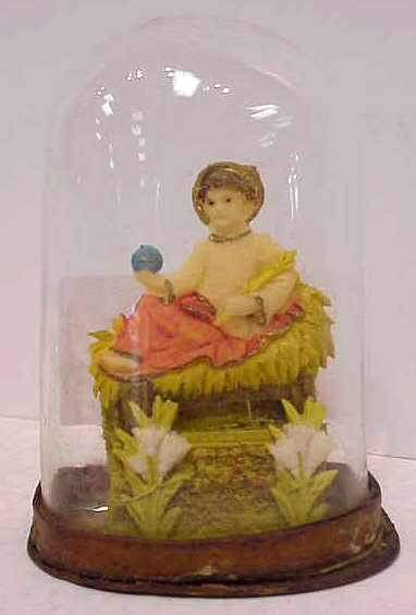 12: VICTORIAN FIGURE OF JESUS UNDER A BLOWN GLASS DOME,