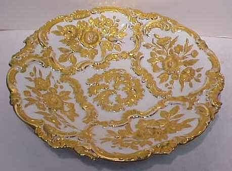 "12A: 19THC MEISSEN CHARGER WITH GILT RELIEF, 12 1/4""D."