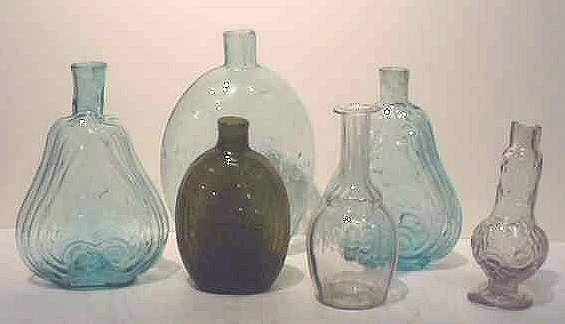 "13: SIX EARLY AMERICAN BLOWN GLASS BOTTLES, 5 3/4"" - 8"""