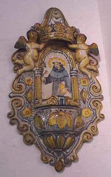 14A: MID 20THC FAIENCE HOLY WATER FOUNT, BLUE AND YELLO