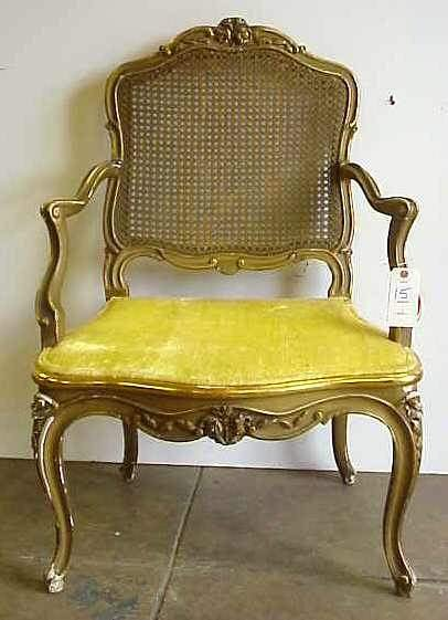 15: 19THC LOUIS XV STYLE BERGERE CHAIR WITH CANE BACK