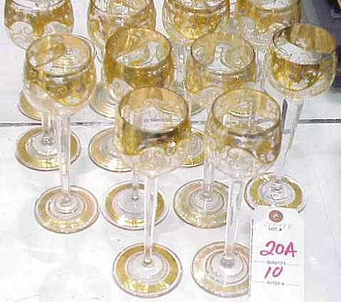 "20A: SET OF 10 GILT TRIM CRYSTAL WINE GLASSES, 8"" HIGH"