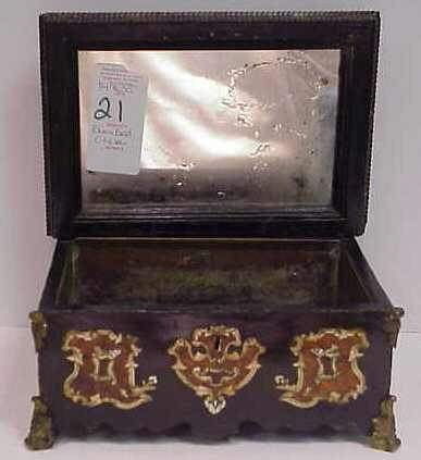 21: 19THC INLAID BLACK LACQUER MIRRORED PLANTER BOX
