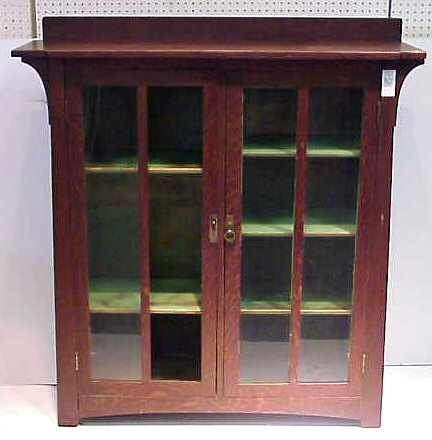 80: LIMBERT ARTS & CRAFTS 2 DOOR OAK BOOKCASE