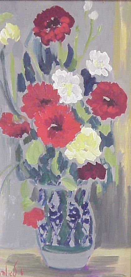 1252: Milia Laufer Israeli artist still life, oil on  c