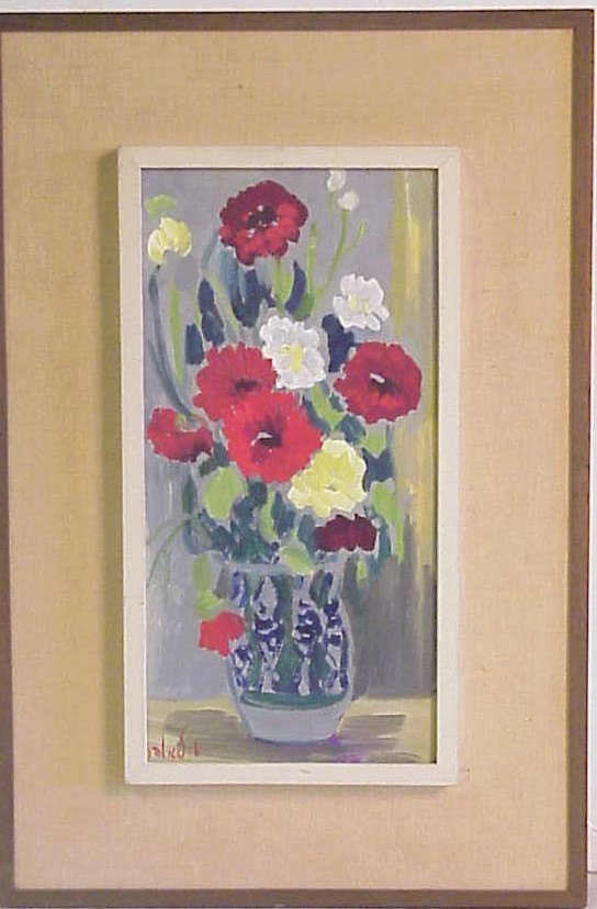 1252: Milia Laufer Israeli artist still life, oil on  c - 2
