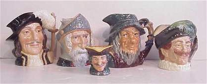 "1271: 5 Royal Doulton Toby Jugs: Athos 7 1/2""h, Don  Qu"