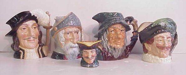 "1271: 5 Royal Doulton Toby Jugs: Athos 7 1/2""h, Don  Qu"