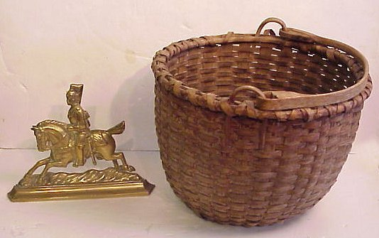 """2021: 19th C large Nantucket basket, 11""""h, 17""""d and an"""
