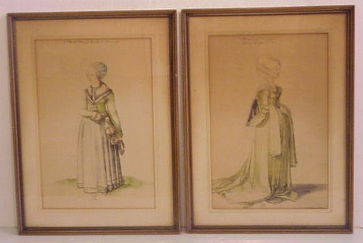 2029: 1920s hand colored prints of 16th C women, framed
