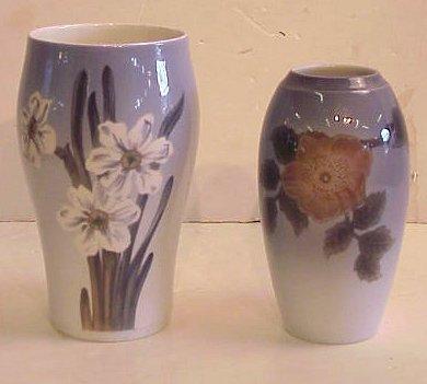 "2017: Royal Copenhagen vase 8""h, and a B&G vase 7 1/4""h"