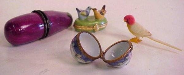 "2003: Tiffany Limoges porcelain bird box 2 1/4""w x 1  1"