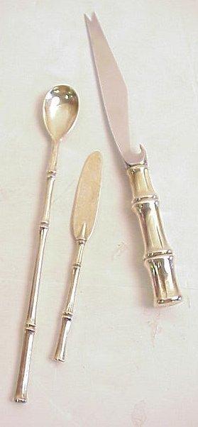 2004: Tiffany sterling silver 3 pc bar set bamboo motif