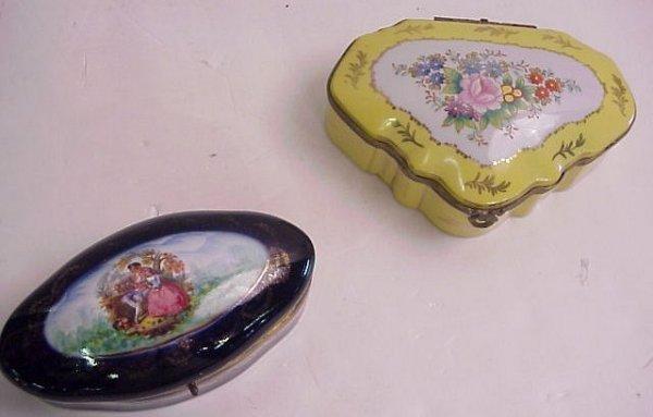 "2012: 2 French porcelain jewel boxes - 1 cobalt 7""w x 2"