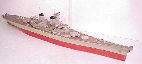 """2009: Wood Model of USS MIssouri, 56"""" Long motorized,"""