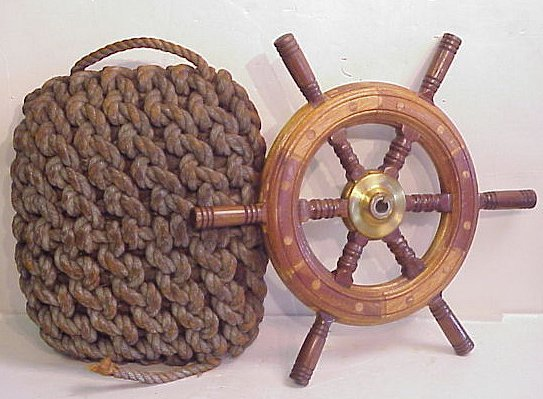 """2013: Nautical lot includes ship's wheel 21""""d overall"""