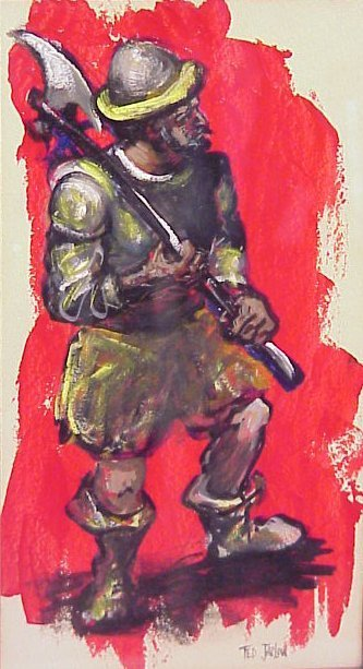 2026A: Ted Jaslow (1934- ,USA) Portrait of a Knight, oi