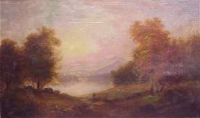 2177: Hudson River School Landscape, oil on canvas,  si