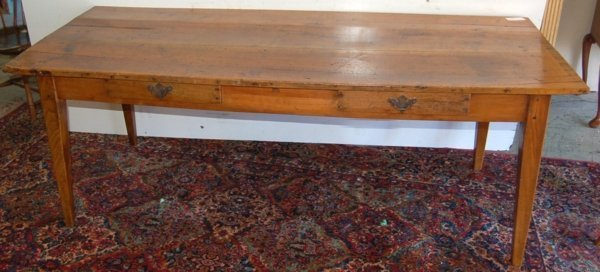 150: French 19th C. Farm table, fruitwood plank top  ov