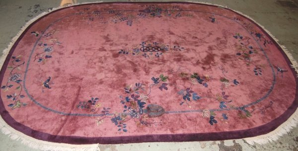 228: Vintage Chinese Art Deco oval Rug, overall good  c