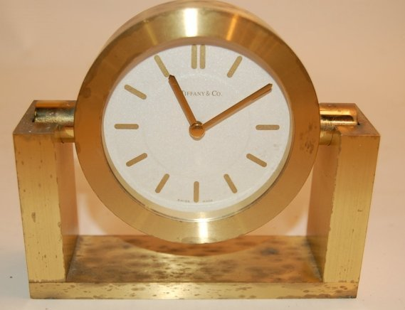 "21: Tiffany Bronze desk clock, modern 5"" x 4 1/2"" H."