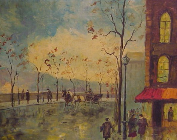 11: Paris scene, signed de Gilbert, oil on canvas, 20""