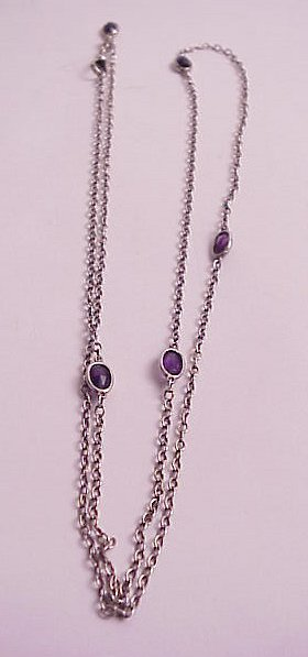 "13: Sterling silver and amethyst chain 32"", early  20th"