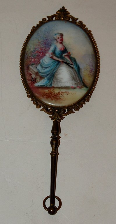 15A: French hand mirror with handpainted porcelain  pla