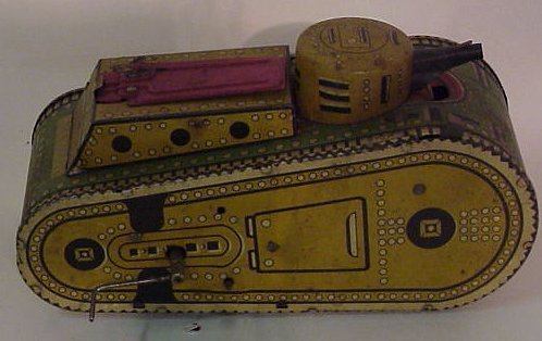 3A: Vintage tin toy tank, MAR toys, made in USA, 10  1/