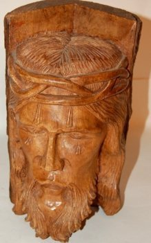 "10: Carved Christ head, 12""h"