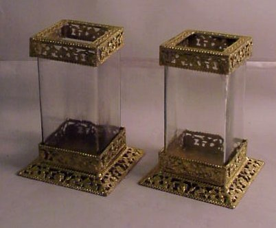 16: Pair of gilt metal and glass candle stands, 8  1/2""