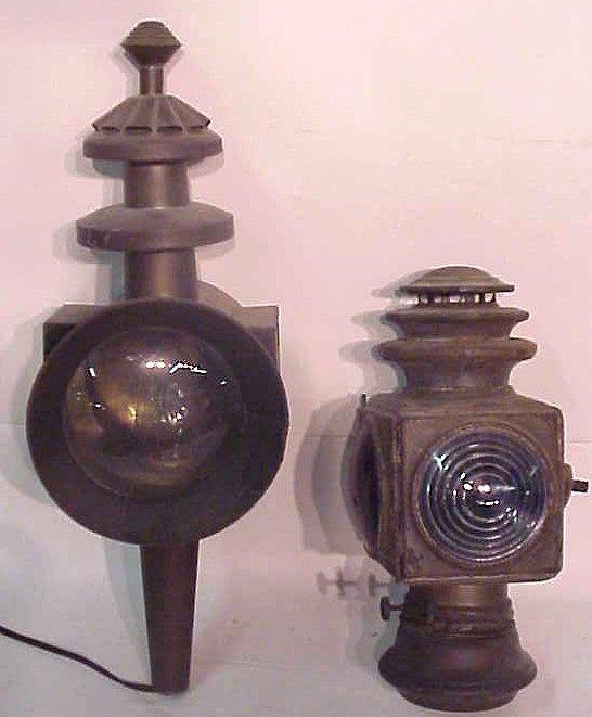 "1003: 2 lanterns, antique carriage lantern 12""h x 6  1/"