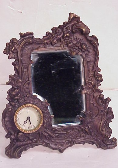 1007: French style bronze clock/table mirror, beveled,