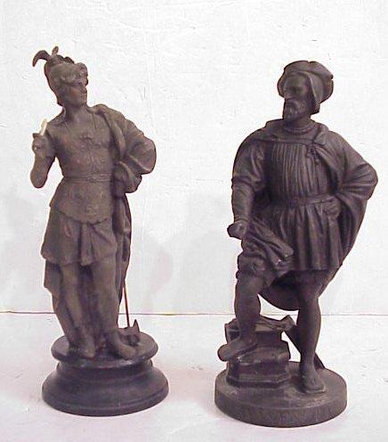 1009: 2 Victorian metal figures Benvenuto Cellini 13  1
