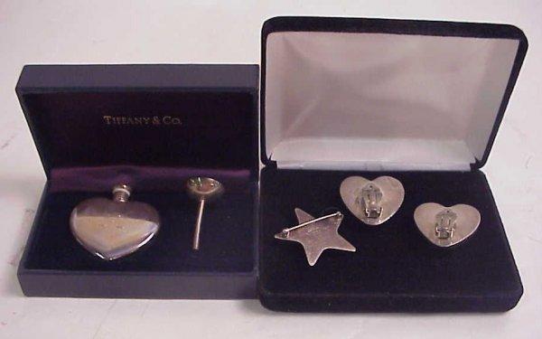 "1011: Tiffany sterling heart perfume 1 1/2"" x 1 1/2""  i"