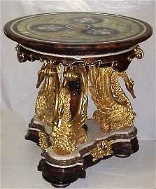 1085: Pietra Dura marble center table having an  elabor