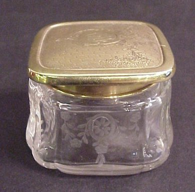 "1004: 14k gold top etched glass powder jar 2""h x 2 1/4"""