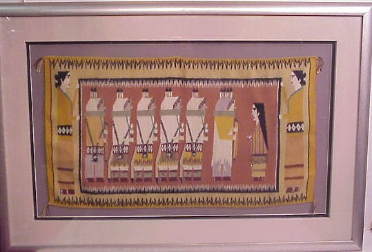 """1016: Louise Bia weaving, figures, 16"""" x 28"""", matted an"""