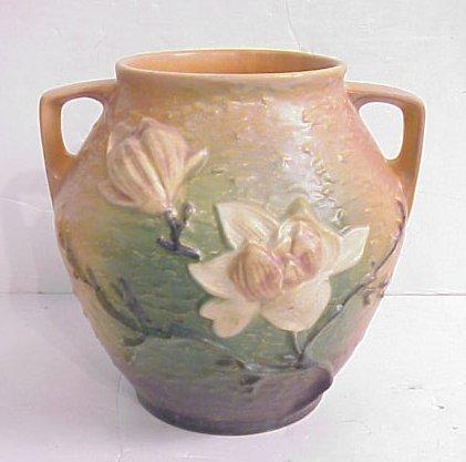 """1030A: Roseville Magnolia vase, 8 1/2""""h"""