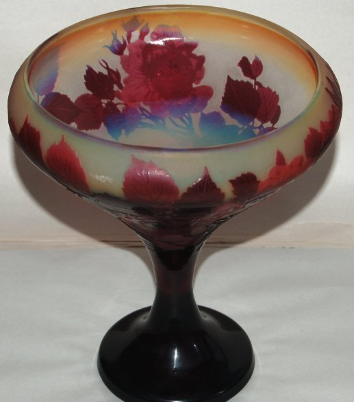 1164: Galle Cameo glass footed bowl wild Roses, signed
