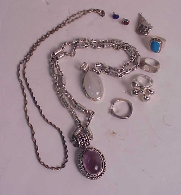 1005A: Silver jewelry lot - sterling amethyst pendant o