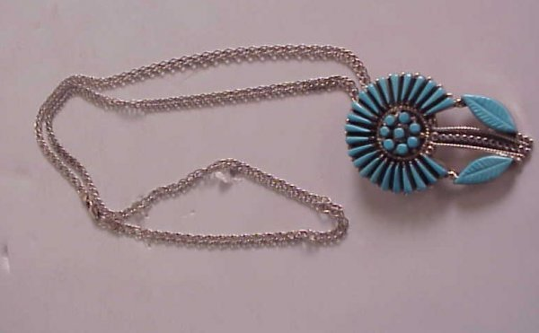 """1025A: Zuni sterling and tuquoise flower pendant/pin 2"""""""