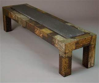 2185: Paul Evans patchwork cocktail table,bronze,  copp