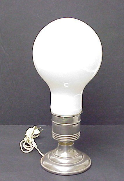 "2007: Light bulb table lamp, 19 1/2""h, some oxidation t"